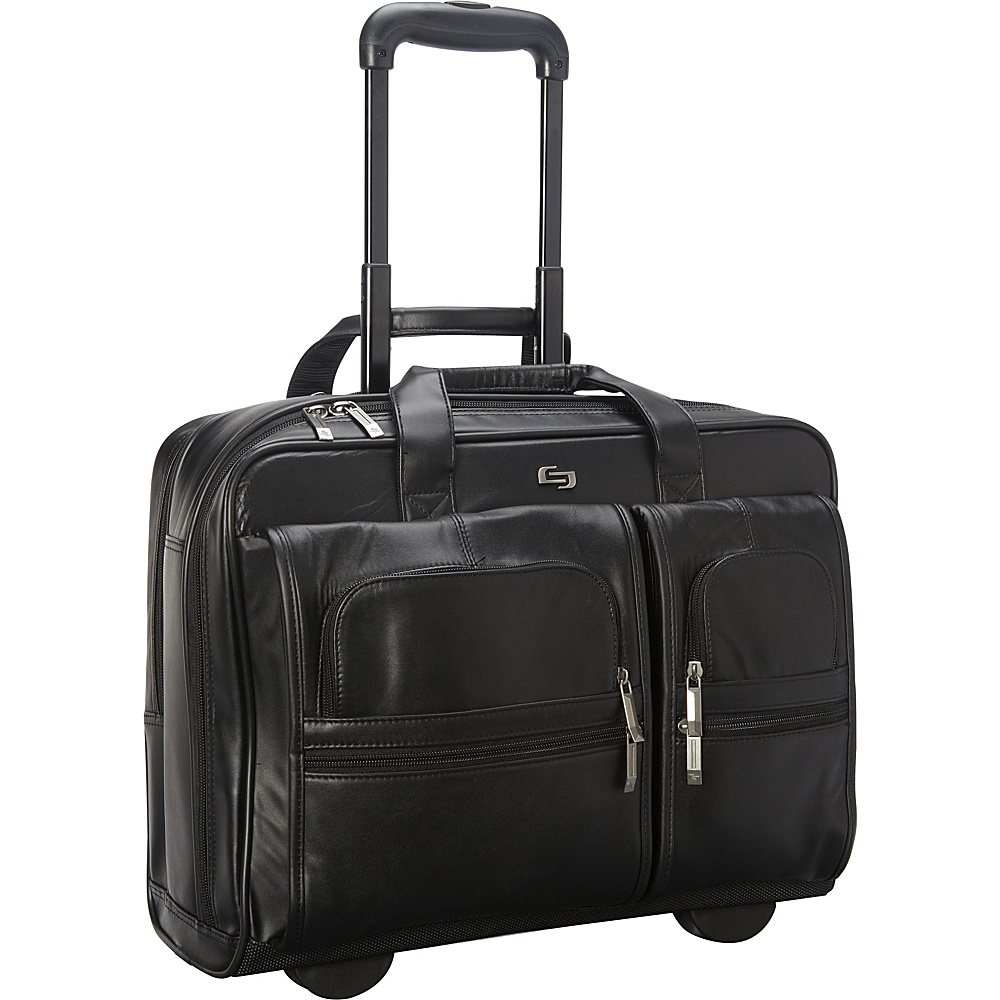 SOLO Nappa Leather Rolling case w/ Large Removable - Work Bags & Briefcases, Wheeled Business Cases