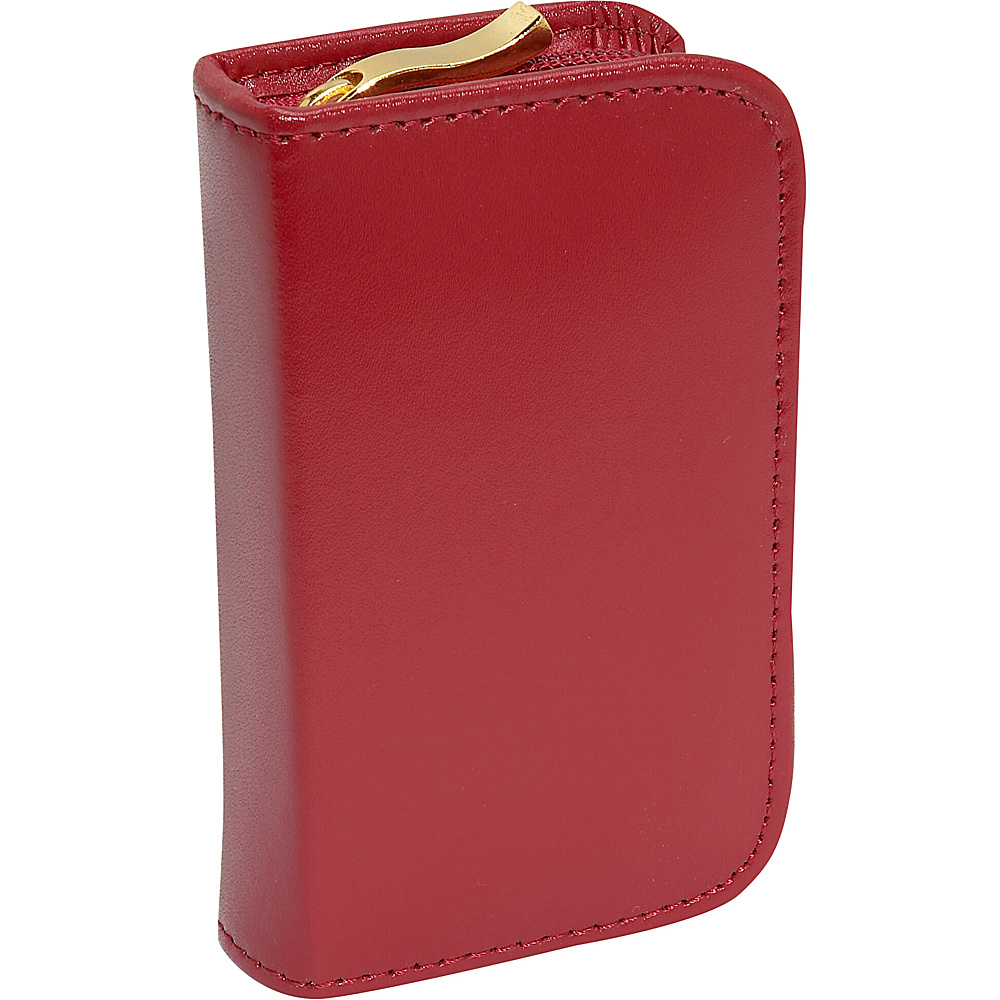 Budd Leather Leather 4 Vial Pill Case Red
