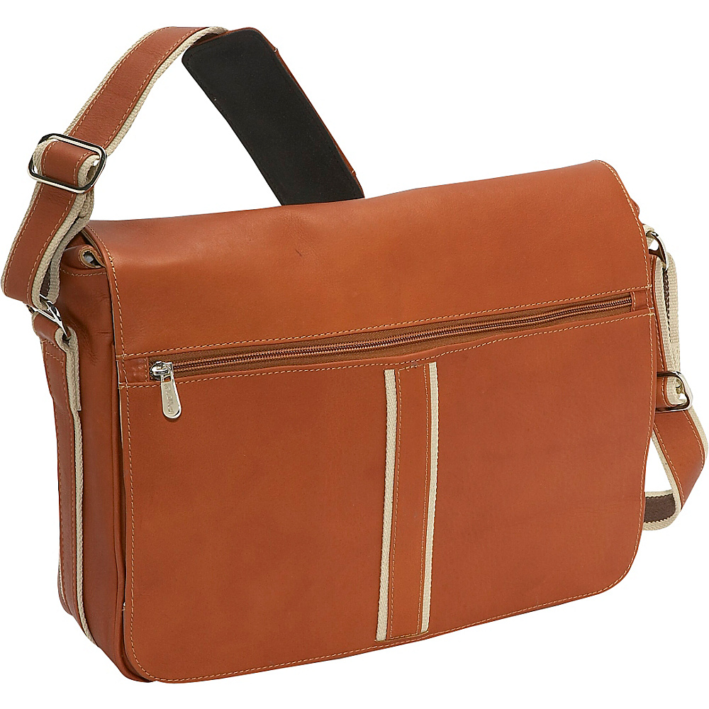 Piel Four Section Urban Laptop Messenger Saddle
