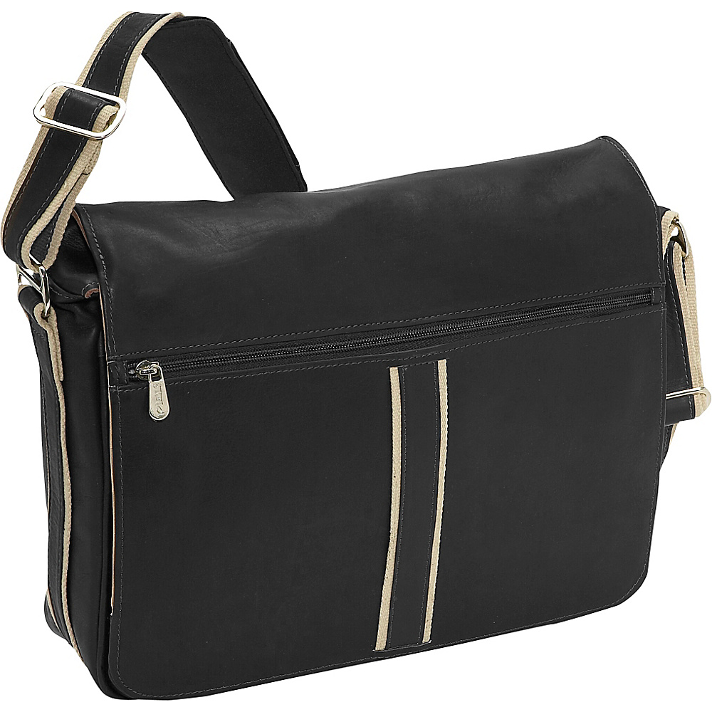 Piel Four Section Urban Laptop Messenger Black