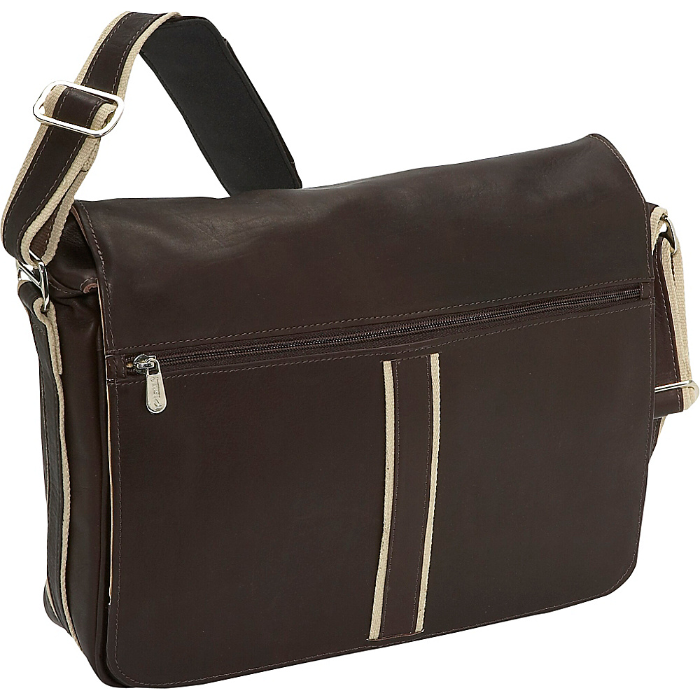 Piel Four Section Urban Laptop Messenger Chocolate