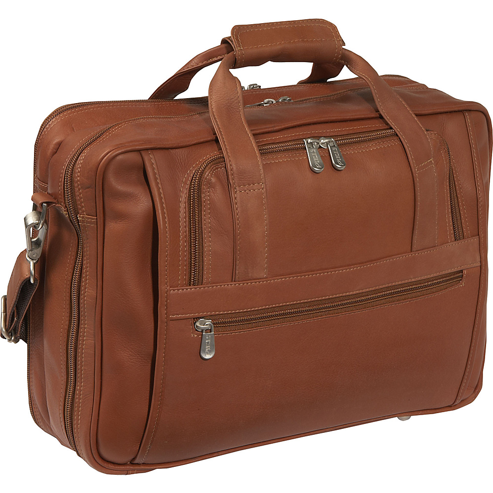 Piel Laptop-Ultra Compact Computer Bag - Saddle - Work Bags & Briefcases, Non-Wheeled Business Cases
