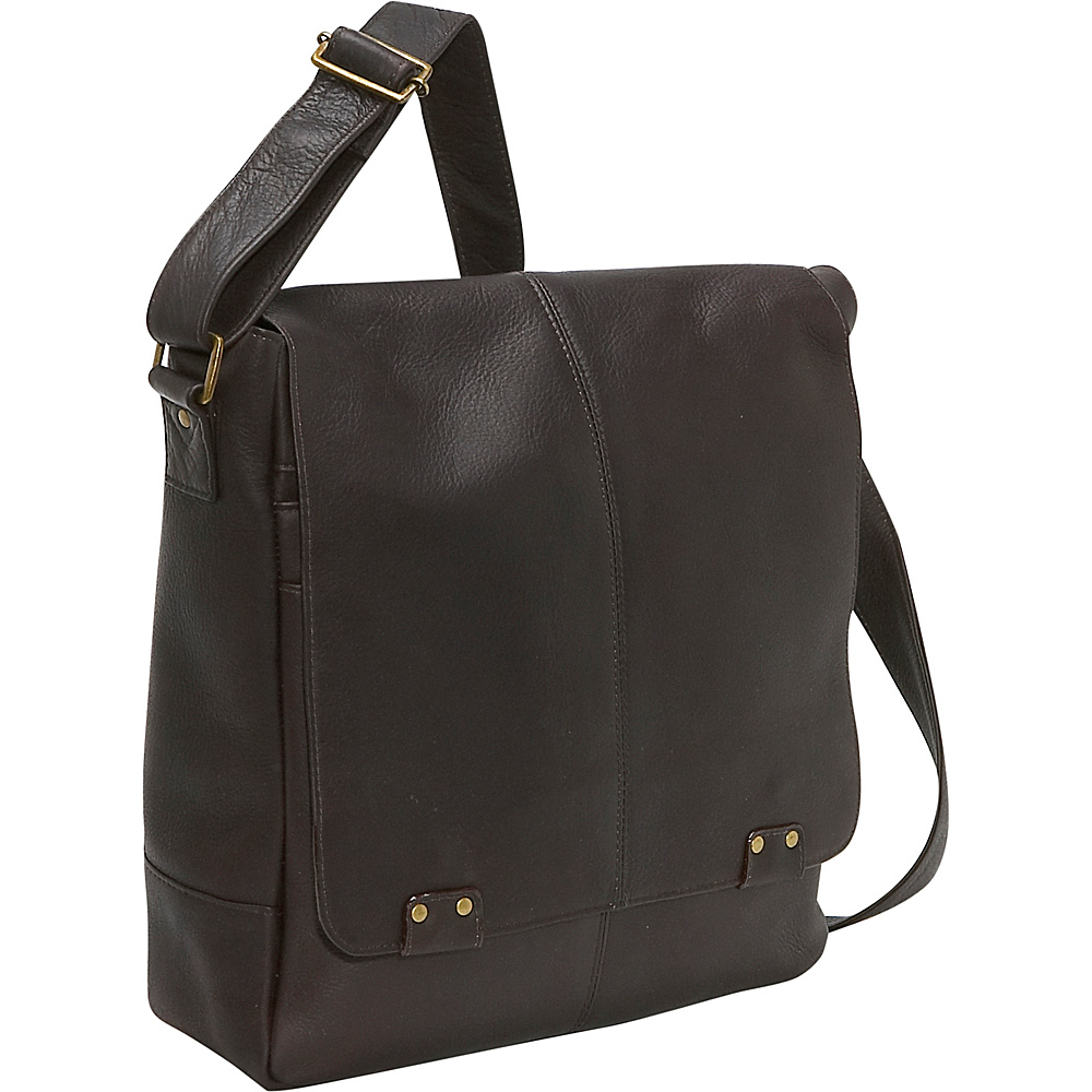 Le Donne Leather Rivet Computer Messenger - Caf - Work Bags & Briefcases, Other Men's Bags