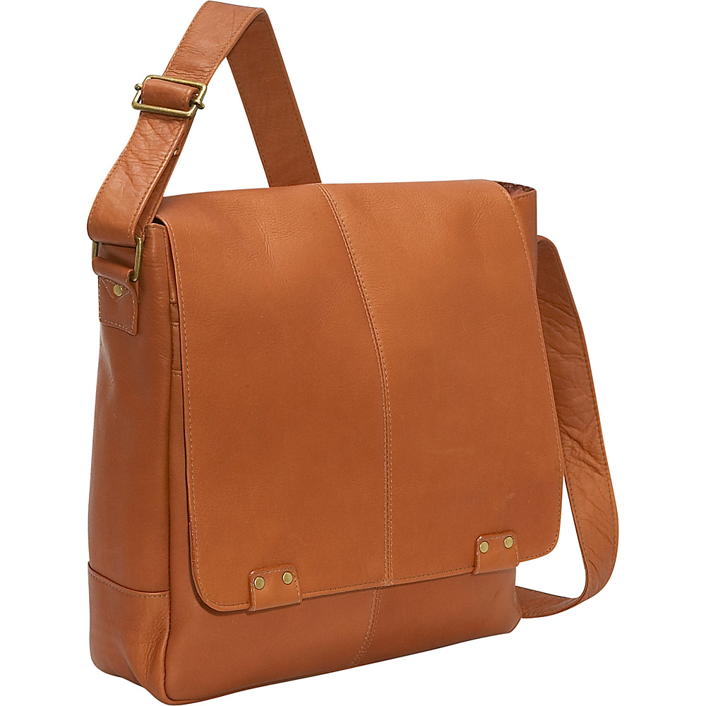 Le Donne Leather Rivet Computer Messenger - Tan - Work Bags & Briefcases, Other Men's Bags