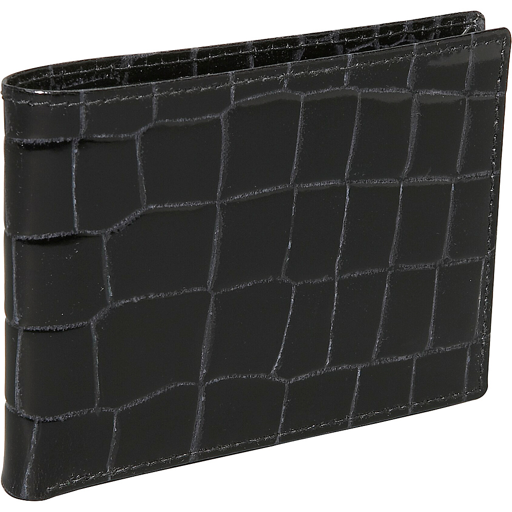 Budd Leather Crocodile Bidente Slim Wallet Black