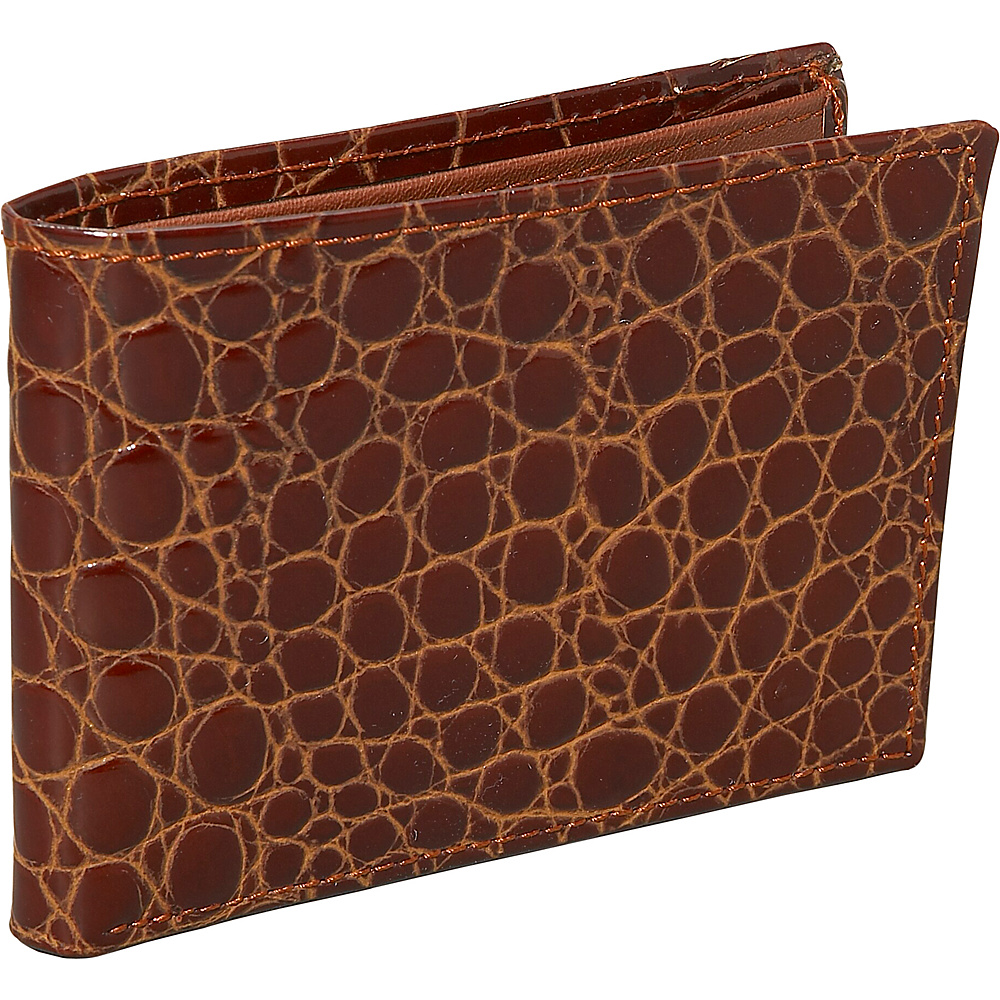 Budd Leather Crocodile Bidente Slim Wallet Cognac Budd Leather Men s Wallets