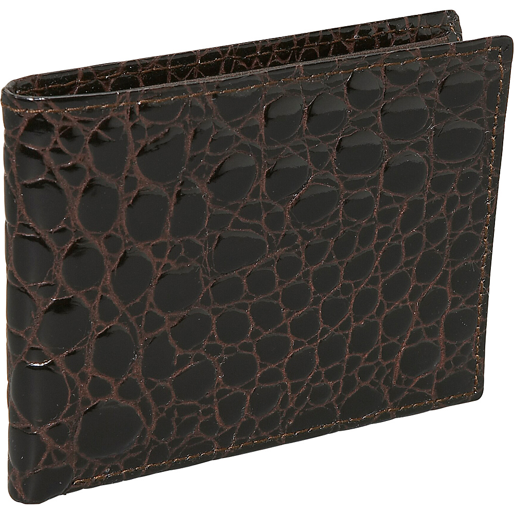 Budd Leather Crocodile Bidente Slim Wallet Brown