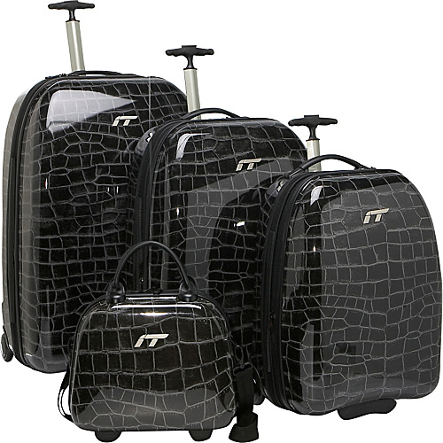 IT Luggage Shiny Croc 4 Piece Luggage Set - Black