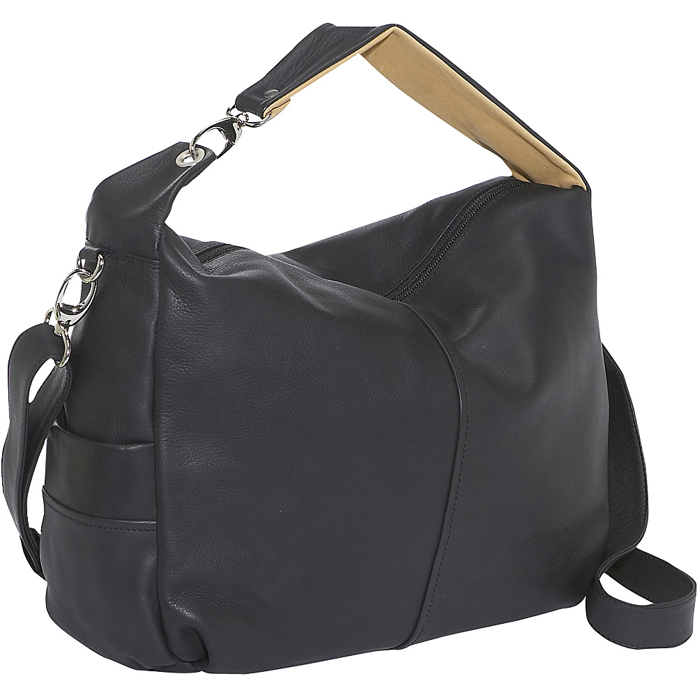 Derek Alexander Large Top Zip Slouch - BLACK/TAN - Handbags, Leather Handbags