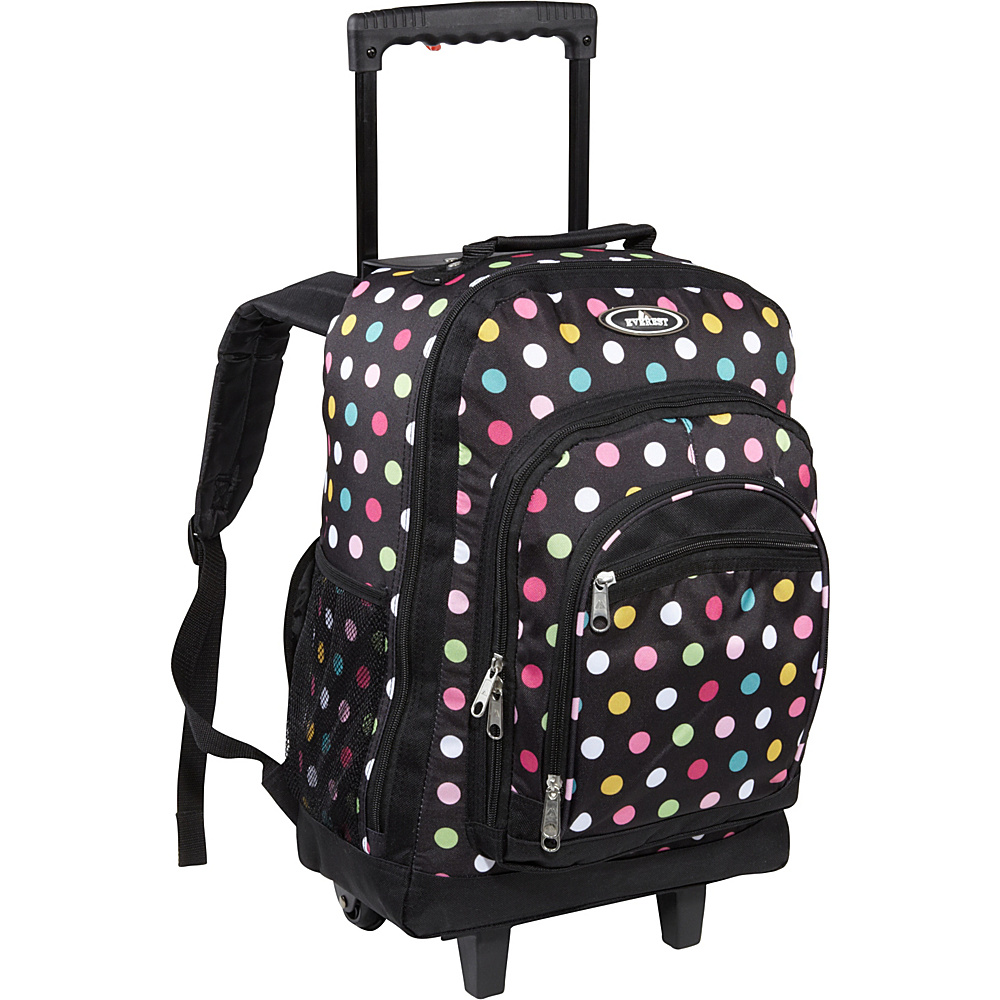 Everest Patterned Wheeled Backpack Polkadot - Everest Rolling Backpacks - Backpacks, Rolling Backpacks