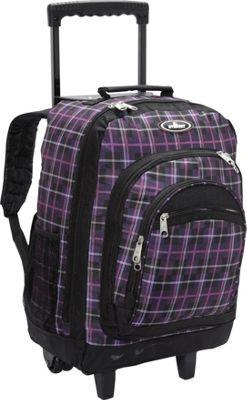 Everest Patterned Wheeled Backpack Purple/Black Plaid - Everest Rolling Backpacks