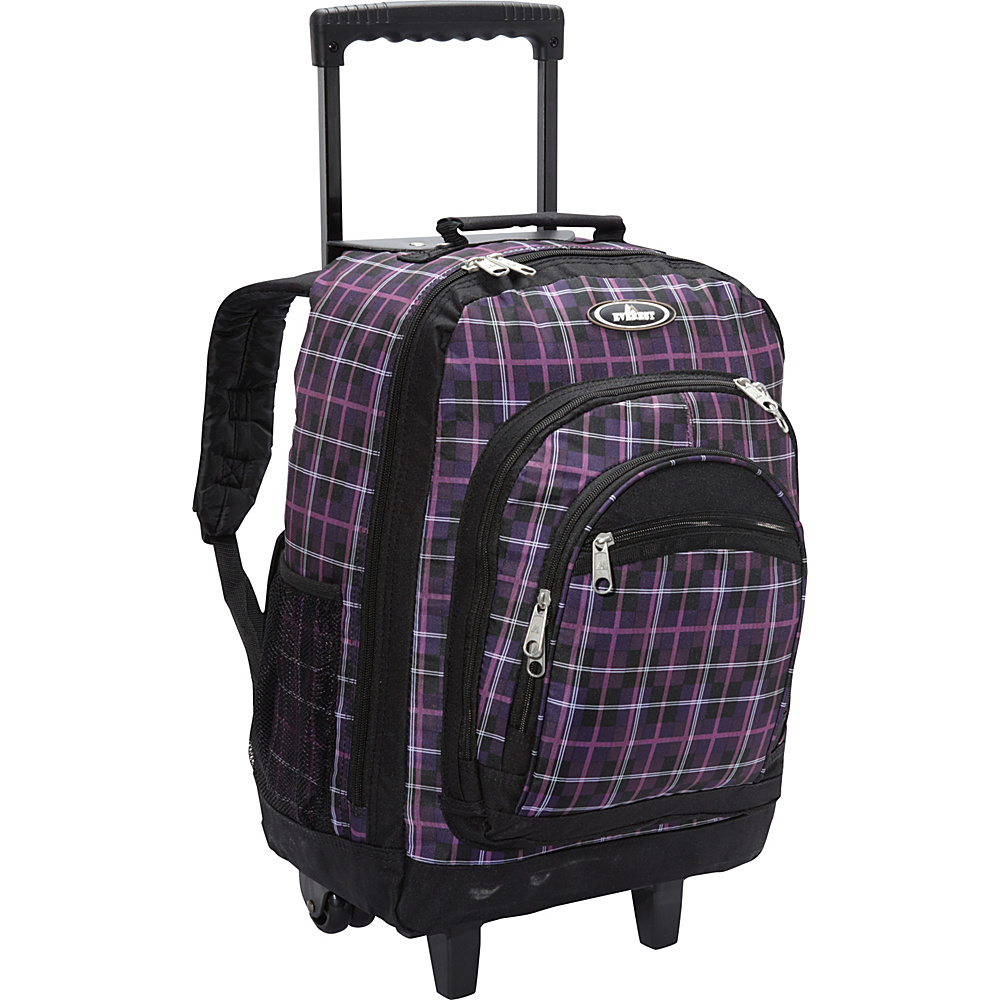 Everest Patterned Wheeled Backpack Purple/Black Plaid - Everest Rolling Backpacks - Backpacks, Rolling Backpacks