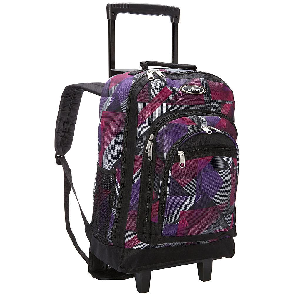 Everest Patterned Wheeled Backpack Purple Pink Geometric Everest Rolling Backpacks