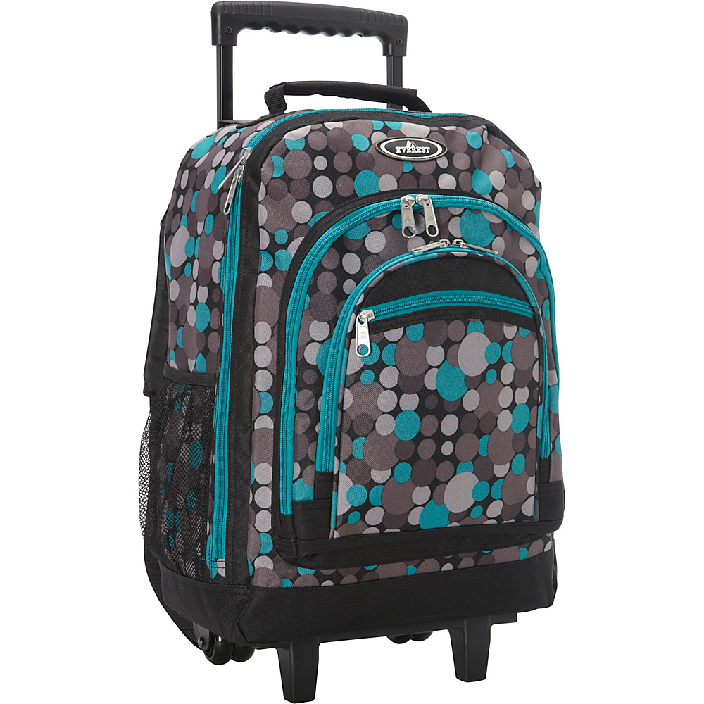 Everest Patterned Wheeled Backpack Blue/Gray Dot - Everest Rolling Backpacks - Backpacks, Rolling Backpacks