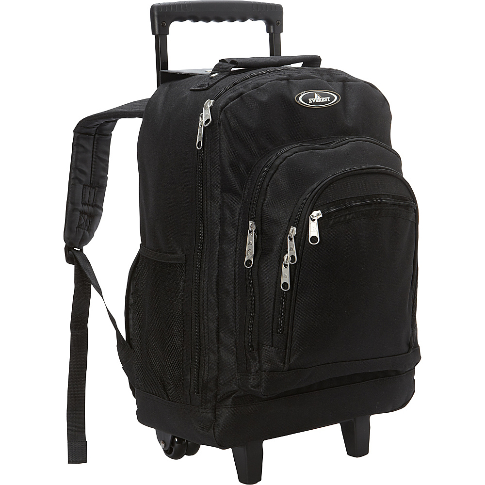 Everest Patterned Wheeled Backpack Black - Everest Rolling Backpacks - Backpacks, Rolling Backpacks