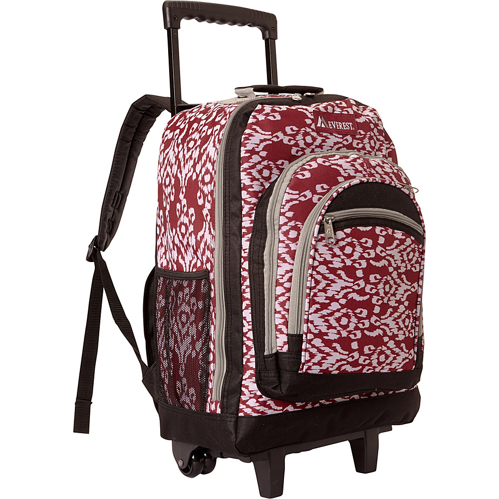 Everest Patterned Wheeled Backpack Burgundy/White Ikat - Everest Rolling Backpacks - Backpacks, Rolling Backpacks