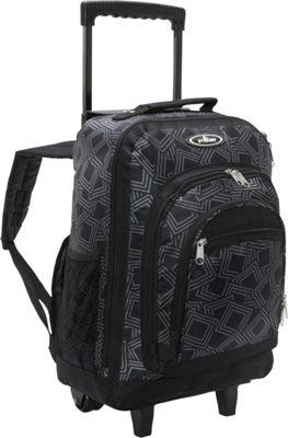 Everest Patterned Wheeled Backpack Gray/Black - Everest Rolling Backpacks