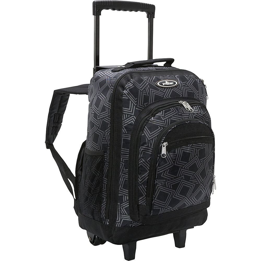 Everest Patterned Wheeled Backpack Gray/Black - Everest Rolling Backpacks - Backpacks, Rolling Backpacks