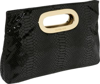 Jet Set Items Berkely Clutch - Patent Python Black