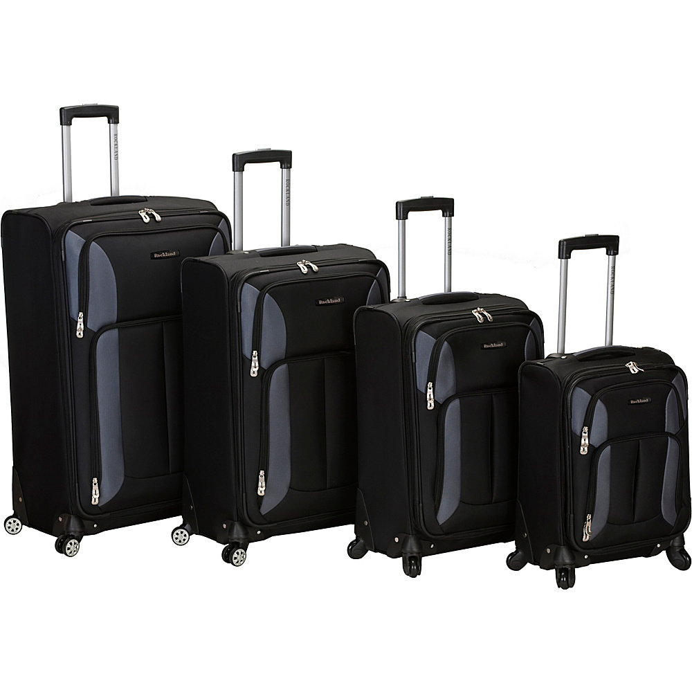 Rockland Luggage 4 Piece Quad Spinner Luggage Set Black - Rockland Luggage Luggage Sets