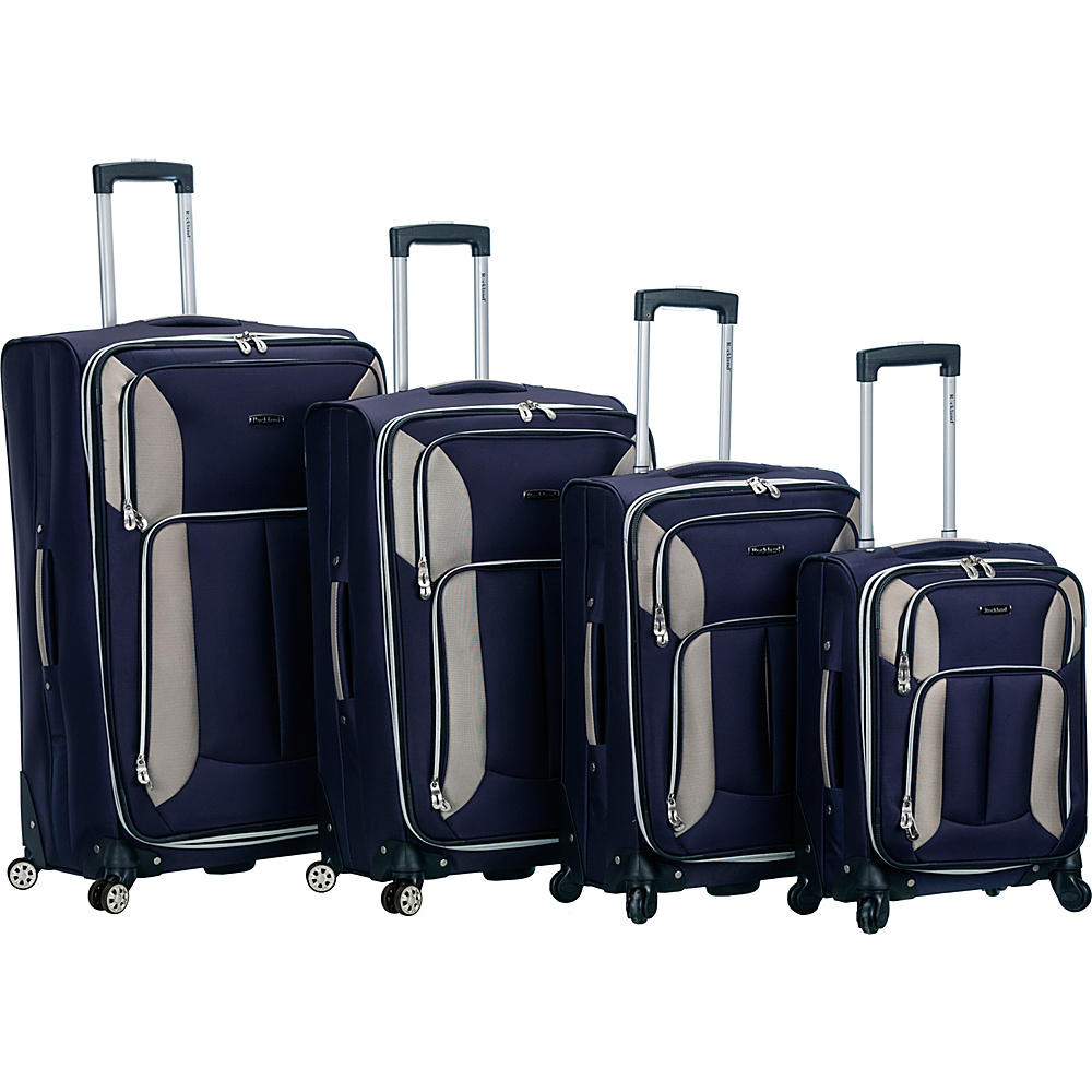Rockland Luggage 4 Piece Quad Spinner Luggage Set Navy - Rockland Luggage Luggage Sets