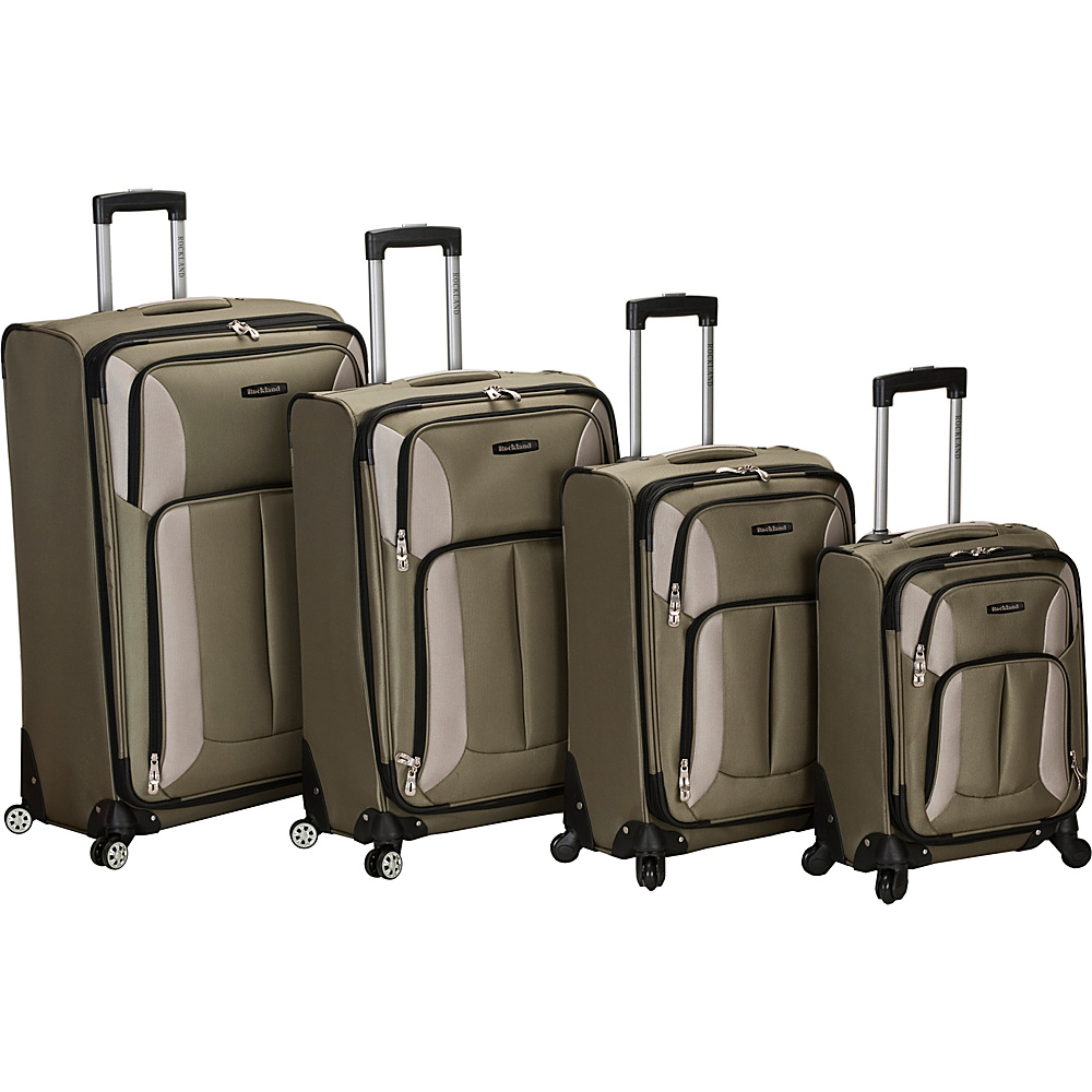 Rockland Luggage 4 Piece Quad Spinner Luggage Set Olive - Rockland Luggage Luggage Sets - Luggage, Luggage Sets