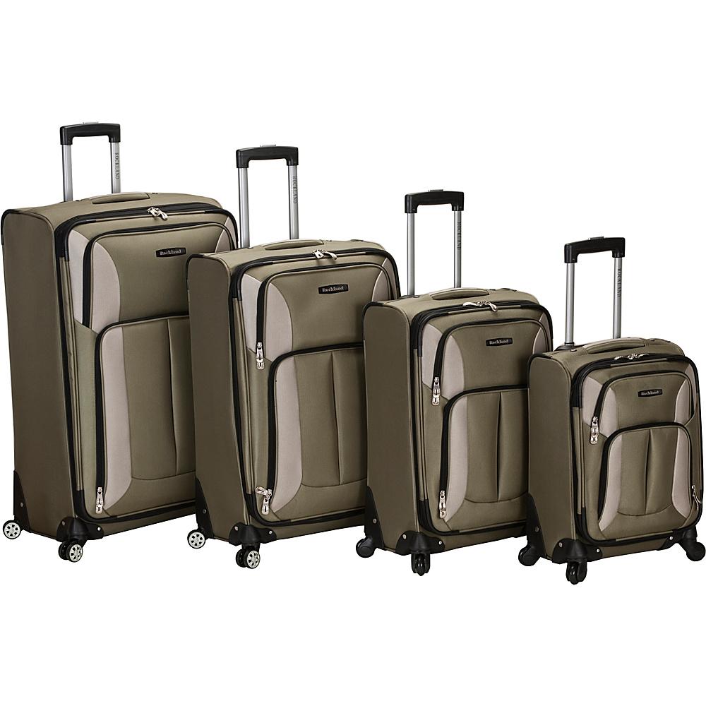 Rockland Luggage 4 Piece Quad Spinner Luggage Set Olive - Rockland Luggage Luggage Sets