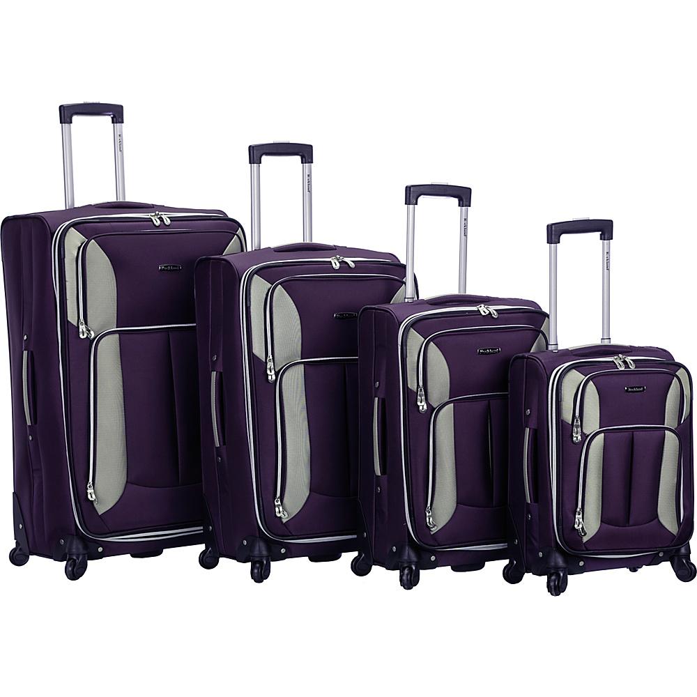 Rockland Luggage 4 Piece Quad Spinner Luggage Set Purple - Rockland Luggage Luggage Sets