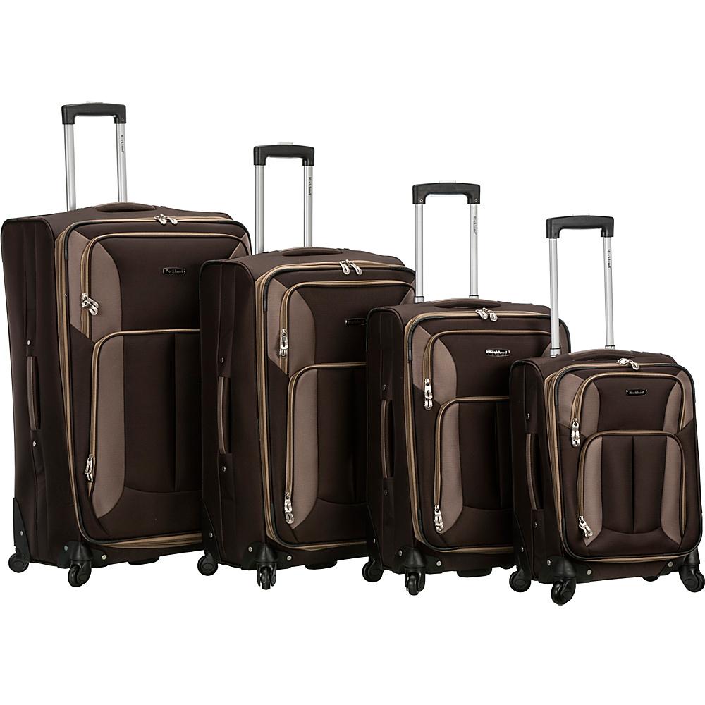 Rockland Luggage 4 Piece Quad Spinner Luggage Set Brown - Rockland Luggage Luggage Sets