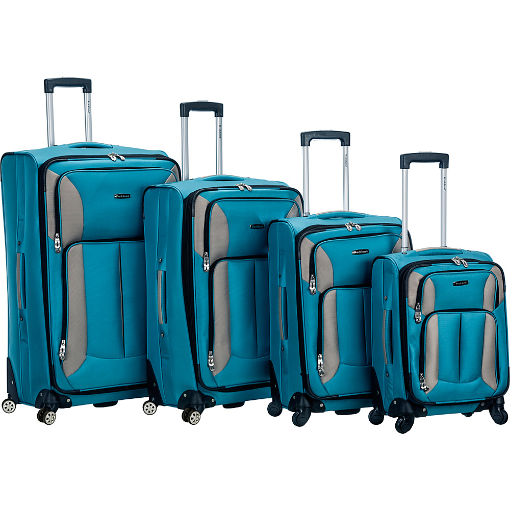 Rockland Luggage 4 Piece Quad Spinner Luggage Set Turquoise - Rockland Luggage Luggage Sets