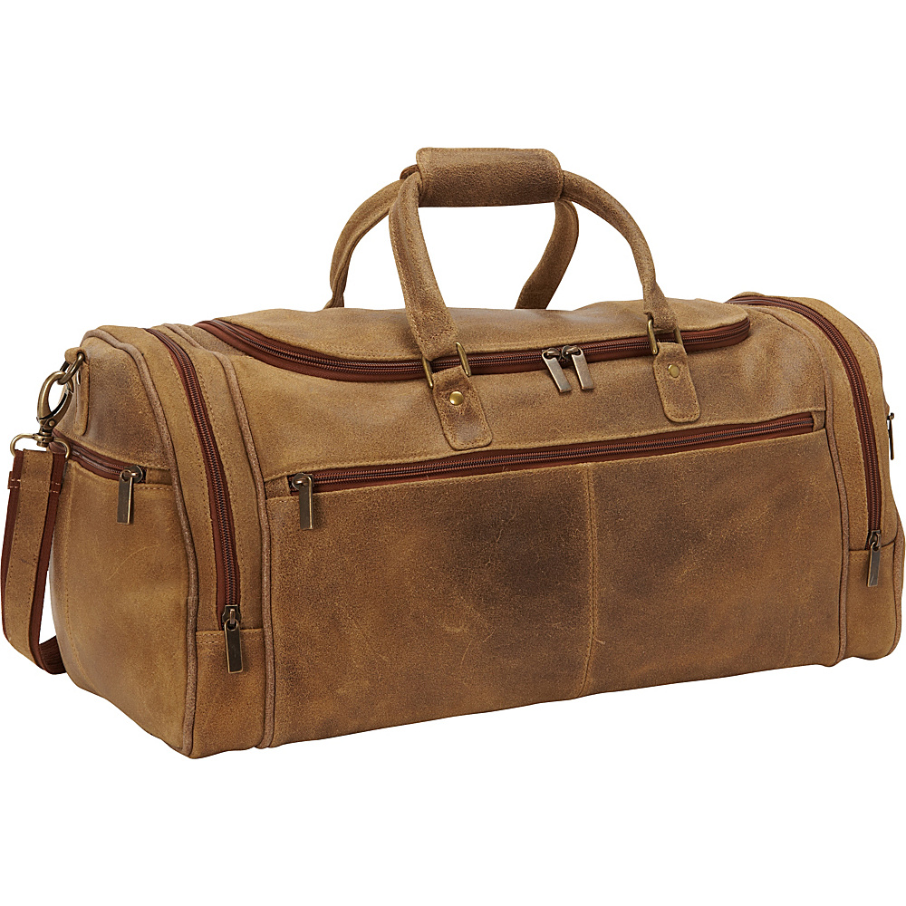 Le Donne Leather Distressed Leather Overnighter Duffel Tan - Le Donne Leather Travel Duffels - Duffels, Travel Duffels
