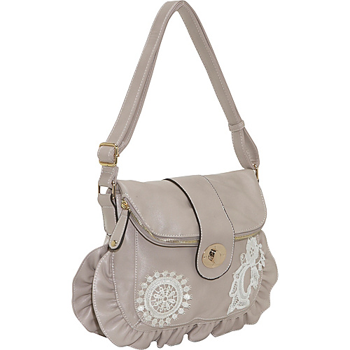 Ashley M Faux Leather Shoulder Bag with Lace Details - - Shoulder Bag