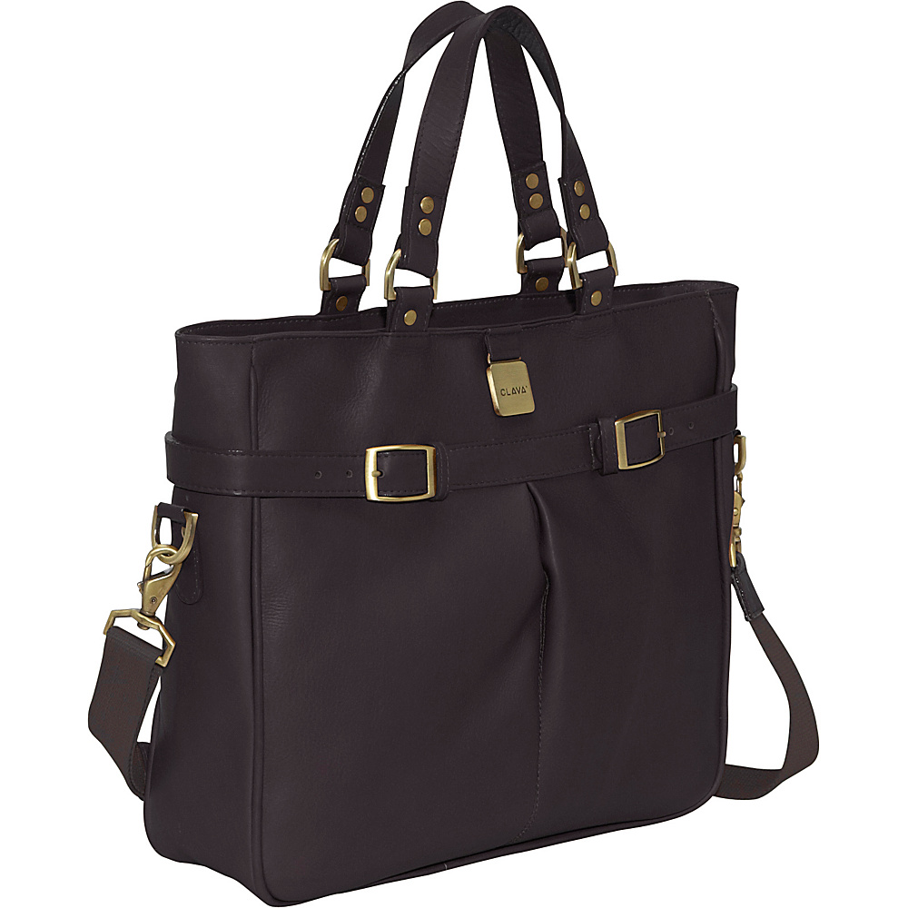 Clava Leather Pleated Buckle Tote - Vachetta Cafe - Handbags, Manmade Handbags