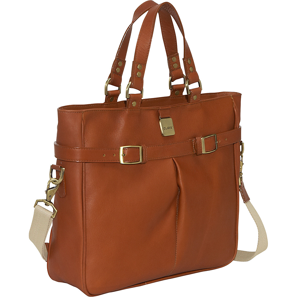 Clava Leather Pleated Buckle Tote - Vachetta Tan - Handbags, Manmade Handbags