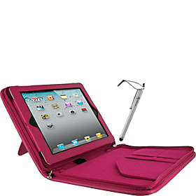 3-in-1 Kit - Executive Portfolio Leather Case for iPad Gens 2, 3 & 4 Magenta