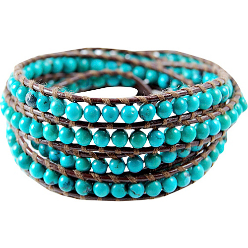 Chan Luu Turquoise Stone Brown Leather Wrap Bracelet Turquoise - Chan Luu Jewelry