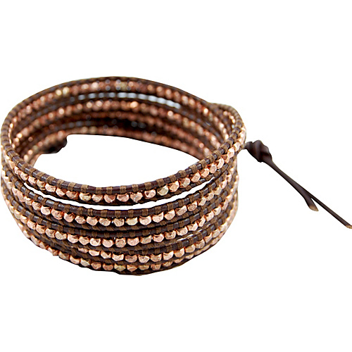 Chan Luu Rose Gold Bead Brown Leather Wrap Bracelet Brown - Chan Luu Jewelry