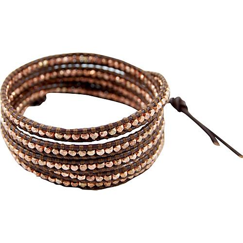 Chan Luu Rose Gold Bead Brown Leather Wrap Bracelet Brown - Chan Luu Jewelry