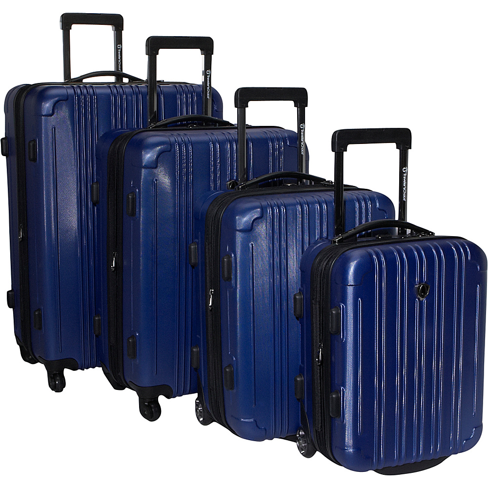 Travelers Choice New Luxembourg 4 Piece Exp. Hardside Luggage Set Navy - Travelers Choice Luggage Sets - Luggage, Luggage Sets