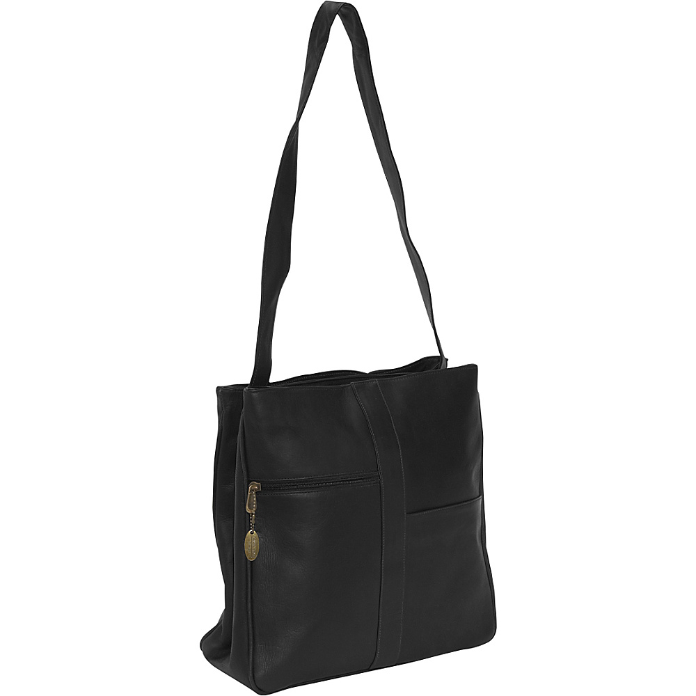 David King & Co. Double Top Zip Shoulder Bag Black - David King & Co. Womens Business Bags - Work Bags & Briefcases, Women's Business Bags