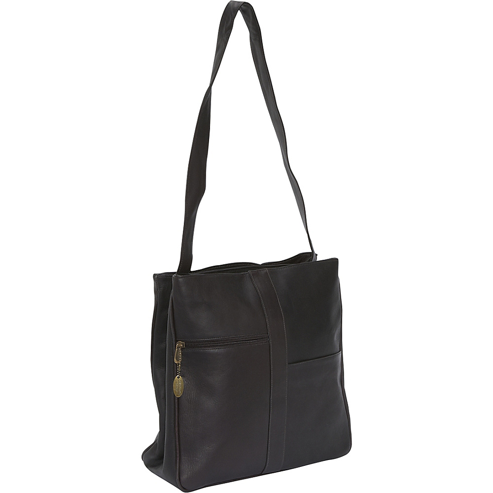 David King & Co. Double Top Zip Shoulder Bag - Cafe - Work Bags & Briefcases, Women's Business Bags