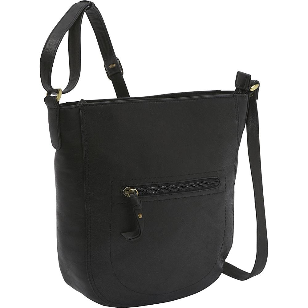 Derek Alexander Top Zip Bucket Bag - Black - Handbags, Leather Handbags