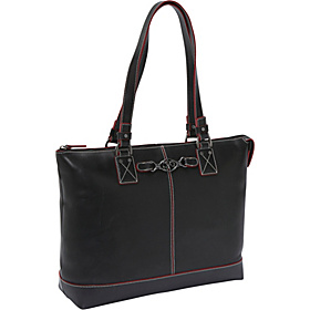Zip Top Laptop Tote Black