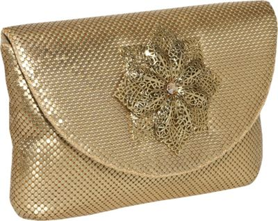Whiting and Davis Filigree Flower Flap Clutch - Clutch
