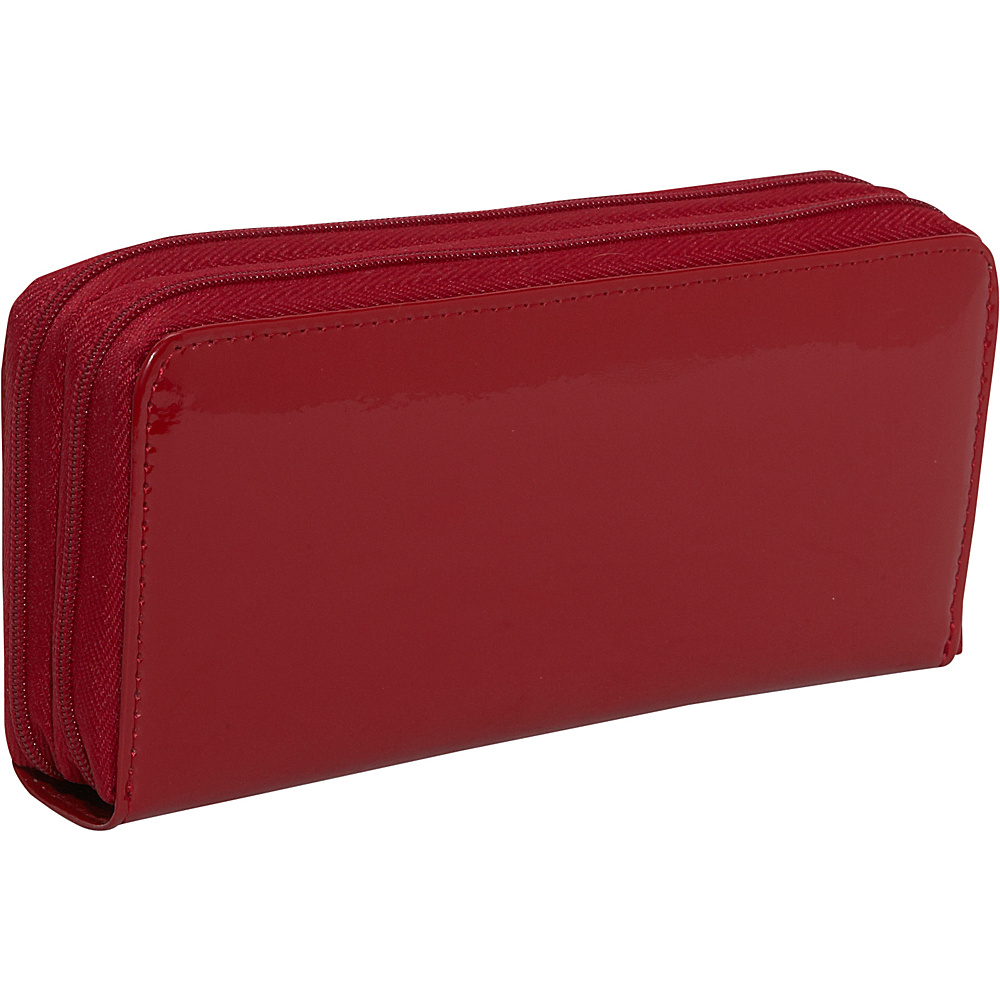 Jack Georges Patent Collection Double Zip Clutch - Red - Women's SLG, Women's Wallets