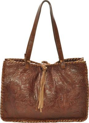 Carla Mancini Signature Tote Brown Tooled - Carla Mancini Designer Handbags