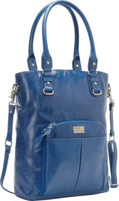 "Clark & Mayfield Irvington Vintage Leather  13.3"" Laptop Crossbody Tote Cobalt Blue - Clark & Mayfield Ladies' Business"