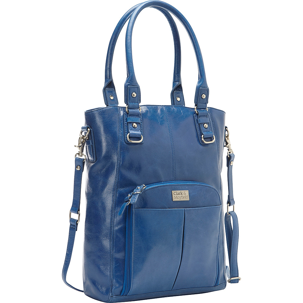 "Clark & Mayfield Irvington Vintage Leather 13.3"" Laptop Crossbody Tote Cobalt Blue - Clark & Mayfield Women's Business Bags"