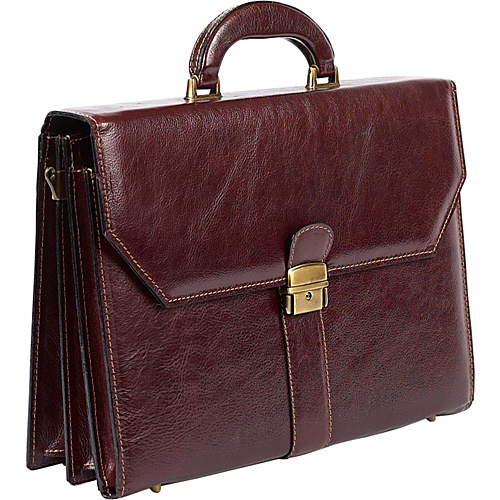 ClaireChase Italiano Leather Briefcase - cognac