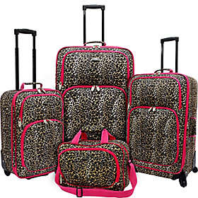 Fashion Leopard 4 Piece Spinner Luggage Set Leopard with Fuchsia Trim